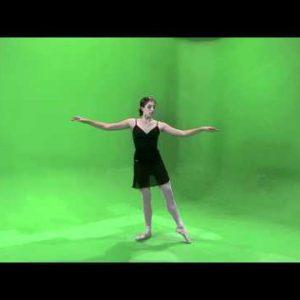 Shot of a dancing ballerina on a green screen.