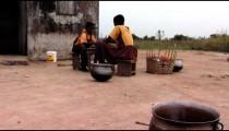 African children eating.