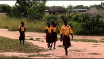 African children walking to school.