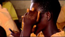 Royalty Free Stock Footage of African boy learning at school.