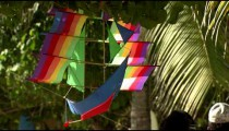 Colorful ship kite hanging from a tree in Bali.