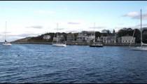 Shot of boats moored in Rockport Harbor in Massachusetts.