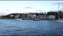 Panning shot of Rockport Harbor in Massachusetts.