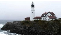 Rainy weather at the Portland Head Light in Maine.