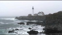 Portland Head Light station in the rain in Maine.