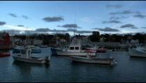 Panning shot of Rockport Harbor at sundown.
