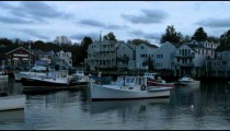 Shore of Rockport Harbor in the evening.