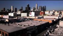 Far shot of Los Angeles skyline.