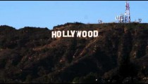 Wide shot of the Hollywood sign in California.
