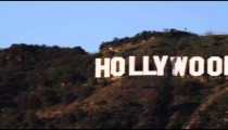 Pan of Hollywood sign in California.
