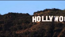 Hollywood sign on a hillside in California.
