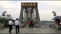 Entrance to a bridge between China and North Korea.