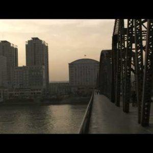 "Shot of the ""Broken Bridge"" between China and North Korea."