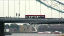 Trolley crossing a bridge in England.