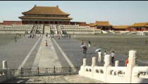 Panning shot of the Forbidden City in China.