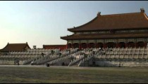 Wide panning shot of the Forbidden City in China.