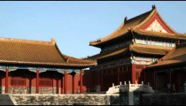 Panning shot of a corner of the Forbidden City in China.