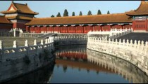 Panning shot of a stream inside the Forbidden City in China.