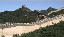 Pan of the Great Wall of China in the Badaling section.