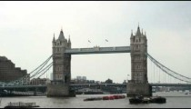 Zoom out shot of the Tower Bridge in London.
