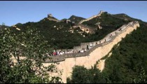 Panning shot of the Great Wall of China in the Badaling section.