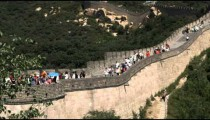 Pan of the Badaling section of the Great Wall of China.