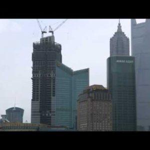 Panning shot of downtown Shanghai.