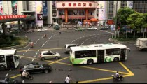 Busy intersection in downtown Shanghai China.