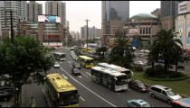 Busy traffic in downtown Shanghai China.