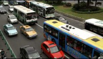Close-up of busy traffic in downtown Shanghai China.