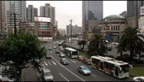 Shot of busy traffic in downtown Shanghai.