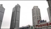 High-rise buildings in downtown Shanghai China.