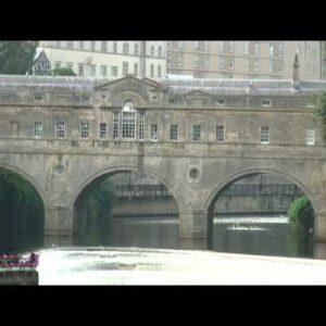 Stone bridge over a river in Bath, England.