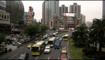 Clip of busy traffic in downtown Shanghai China.
