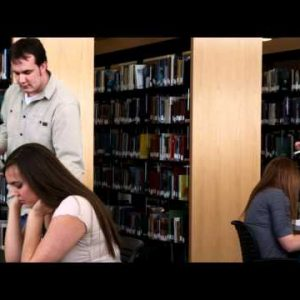 Students studying at a library.