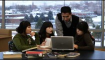 Clip of international students studying.