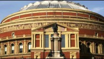 Pan of the top of the Royal Albert Hall in London.