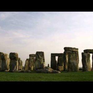 Tilt down to Stonehenge in England.