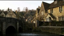 Royalty Free Stock Footage of Shot of an old stone village bridge and stream in England.