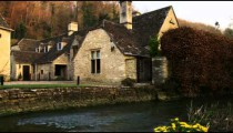 Royalty Free Stock Footage of Old stone buildings in a village in England.