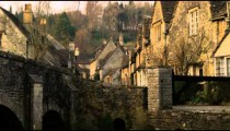 Royalty Free Stock Footage of Old stone village with an old bridge in England.