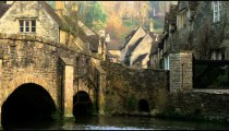 Royalty Free Stock Footage of Stone bridge in an old village in England.