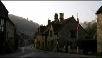 Royalty Free Stock Footage of Pan of old stone buildings in the countryside of England.