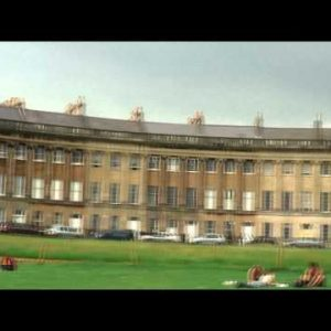 Panorama of the Royal Crescent in Bath England.