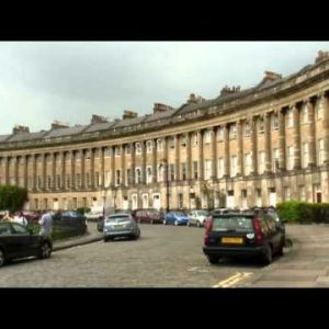 Panning shot of the Royal Crescent homes in Bath England.