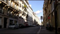 Street surrounded by apartments in Paris.