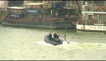 Boat and a bridge on the Seine River in Paris.