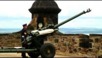 One O'Clock Gun preparing to be fired at Edinburgh Castle.