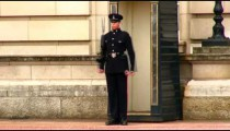 Sentry moving with firearm at Buckingham Palace.