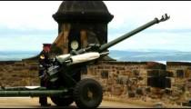 One O'Clock Gun being fired at Edinburgh Castle in Scotland.